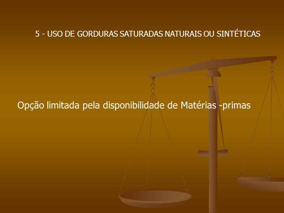 5 - USO DE GORDURAS SATURADAS NATURAIS OU SINTÉTICAS Opção limitada pela disponibilidade de Matérias -primas