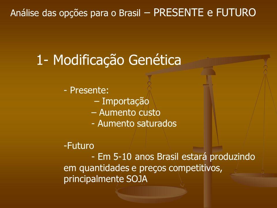 Análise das opções para o Brasil – PRESENTE e FUTURO 1- Modificação Genética - Presente: – Importação – Aumento custo - Aumento saturados -Futuro - Em