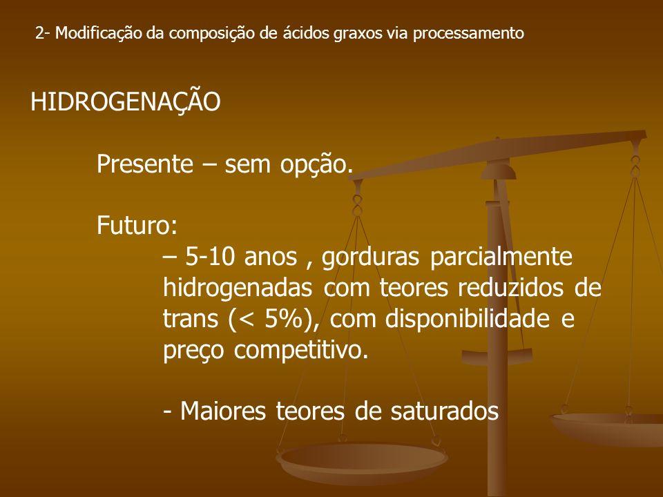 2- Modificação da composição de ácidos graxos via processamento HIDROGENAÇÃO Presente – sem opção. Futuro: – 5-10 anos, gorduras parcialmente hidrogen