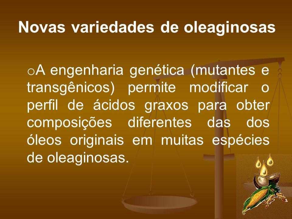 Novas variedades de oleaginosas o A engenharia genética (mutantes e transgênicos) permite modificar o perfil de ácidos graxos para obter composições d