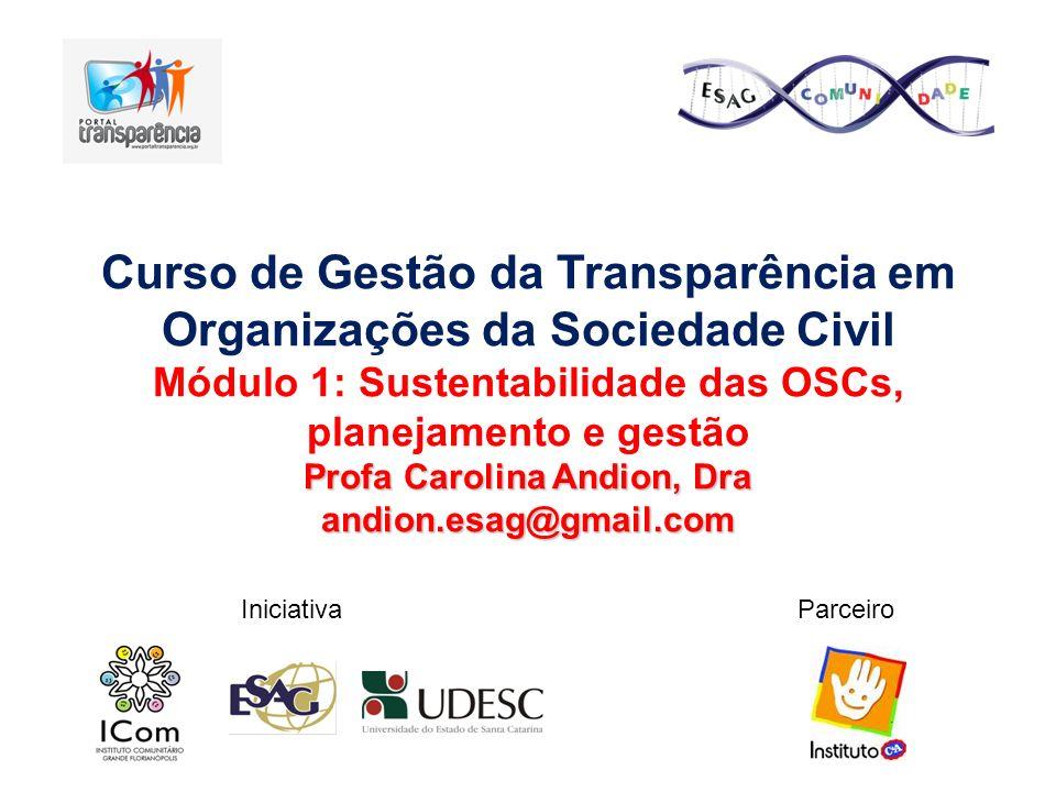 Curso de Gestão da Transparência em Organizações da Sociedade Civil Módulo 1: Sustentabilidade das OSCs, planejamento e gestão Profa Carolina Andion,