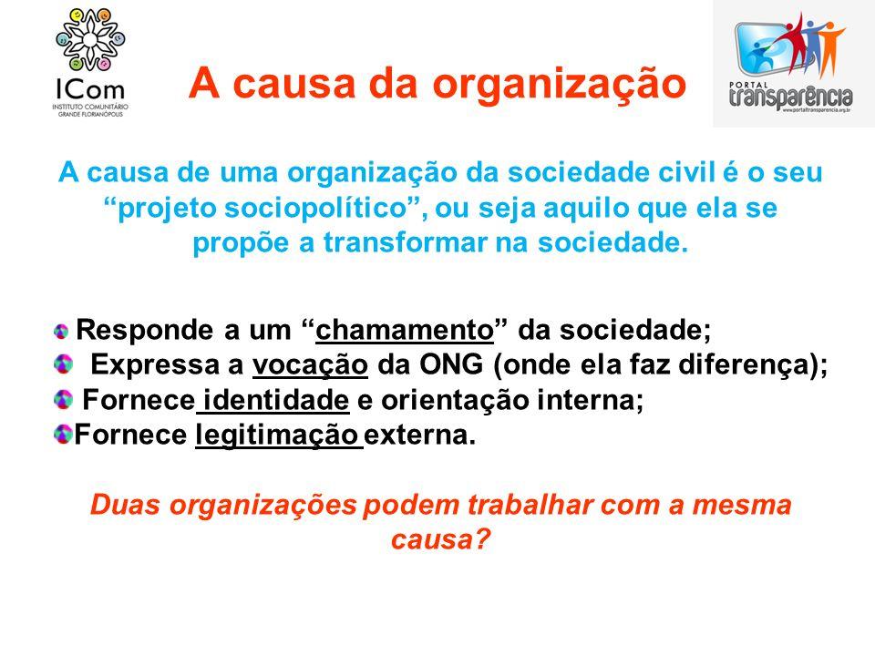 A causa da organização A causa de uma organização da sociedade civil é o seu projeto sociopolítico, ou seja aquilo que ela se propõe a transformar na