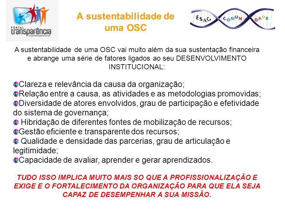 A sustentabilidade de uma OSC A sustentabilidade de uma OSC vai muito além da sua sustentação financeira e abrange uma série de fatores ligados ao seu