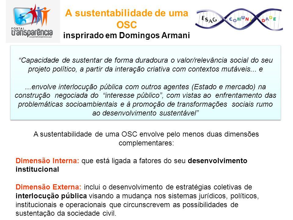 A sustentabilidade de uma OSC insprirado em Domingos Armani Capacidade de sustentar de forma duradoura o valor/relevância social do seu projeto políti