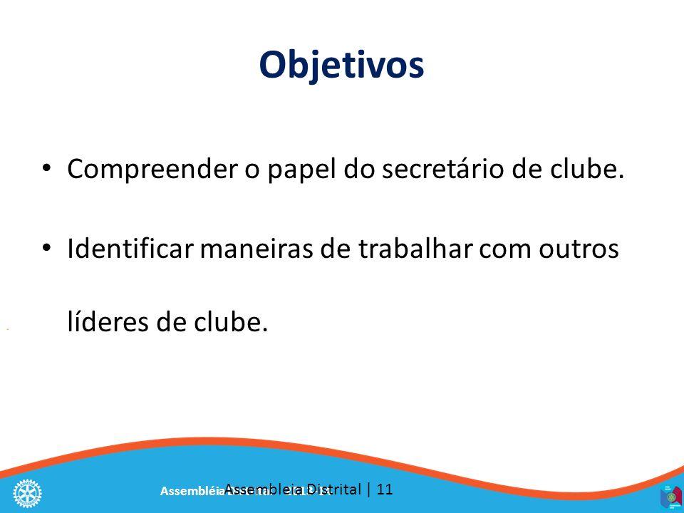 Assembléia Distrital 2013-14 Objetivos Compreender o papel do secretário de clube. Identificar maneiras de trabalhar com outros líderes de clube. Asse