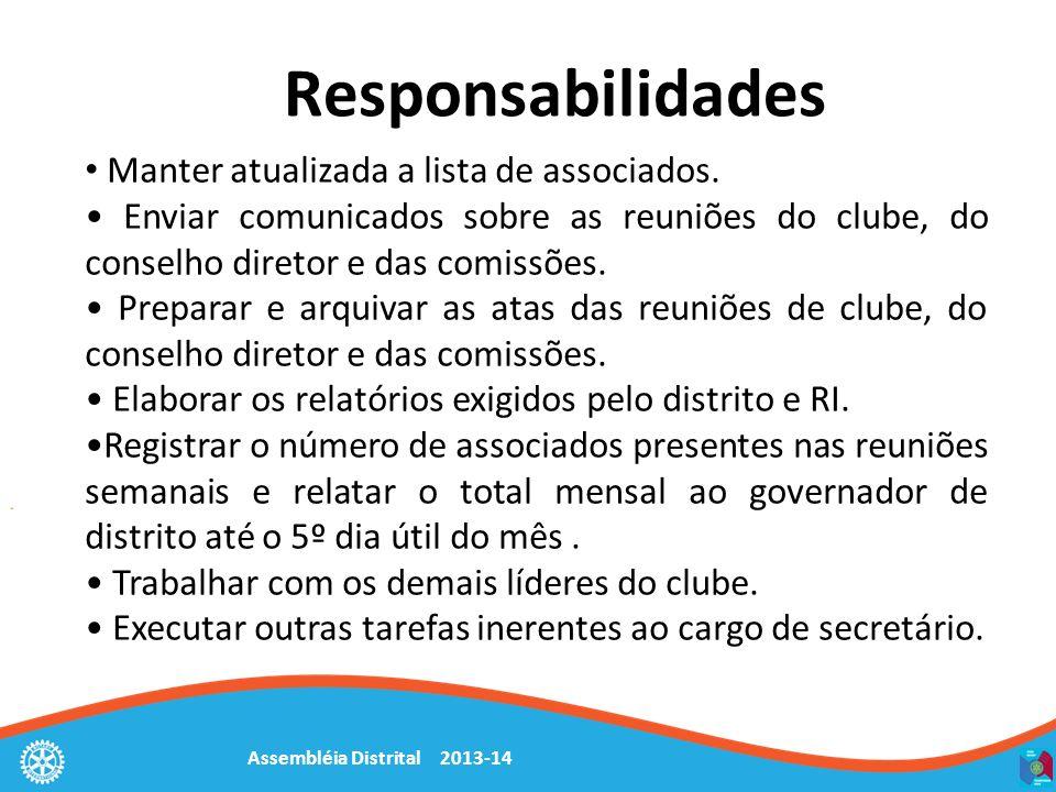 Assembléia Distrital 2013-14 Responsabilidades Manter atualizada a lista de associados. Enviar comunicados sobre as reuniões do clube, do conselho dir