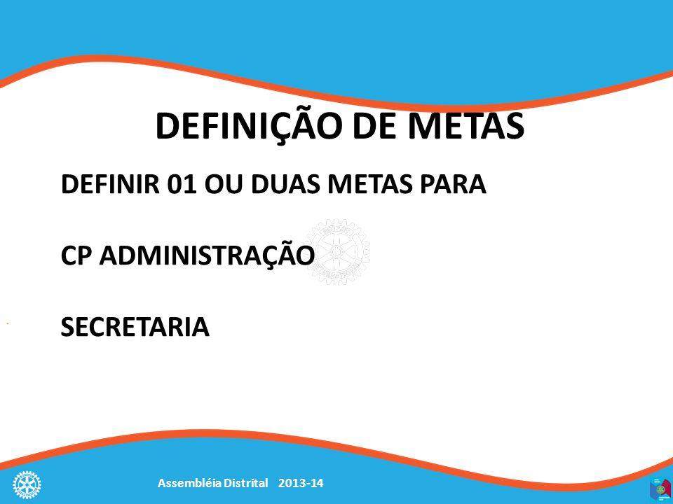 Assembléia Distrital 2013-14 DEFINIÇÃO DE METAS DEFINIR 01 OU DUAS METAS PARA CP ADMINISTRAÇÃO SECRETARIA