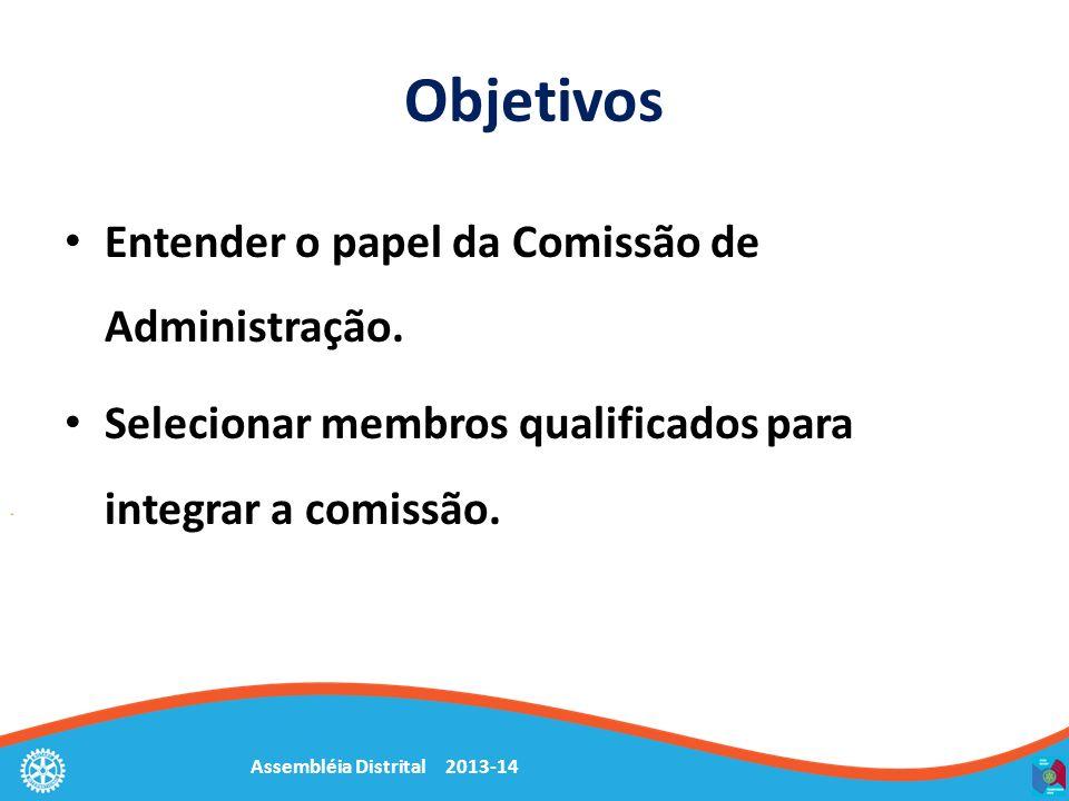 Assembléia Distrital 2013-14 Objetivos Entender o papel da Comissão de Administração. Selecionar membros qualificados para integrar a comissão.