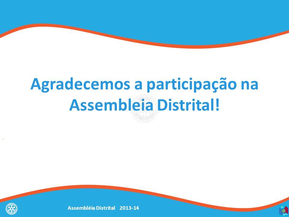 Assembléia Distrital 2013-14 Agradecemos a participação na Assembleia Distrital!