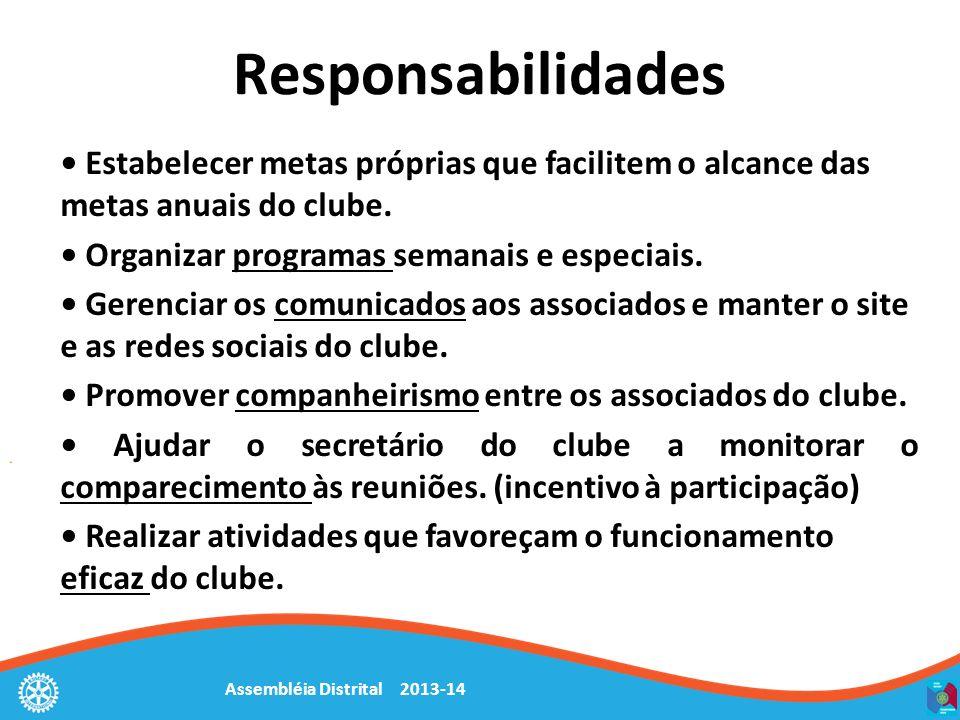 Assembléia Distrital 2013-14 Responsabilidades Estabelecer metas próprias que facilitem o alcance das metas anuais do clube. Organizar programas seman