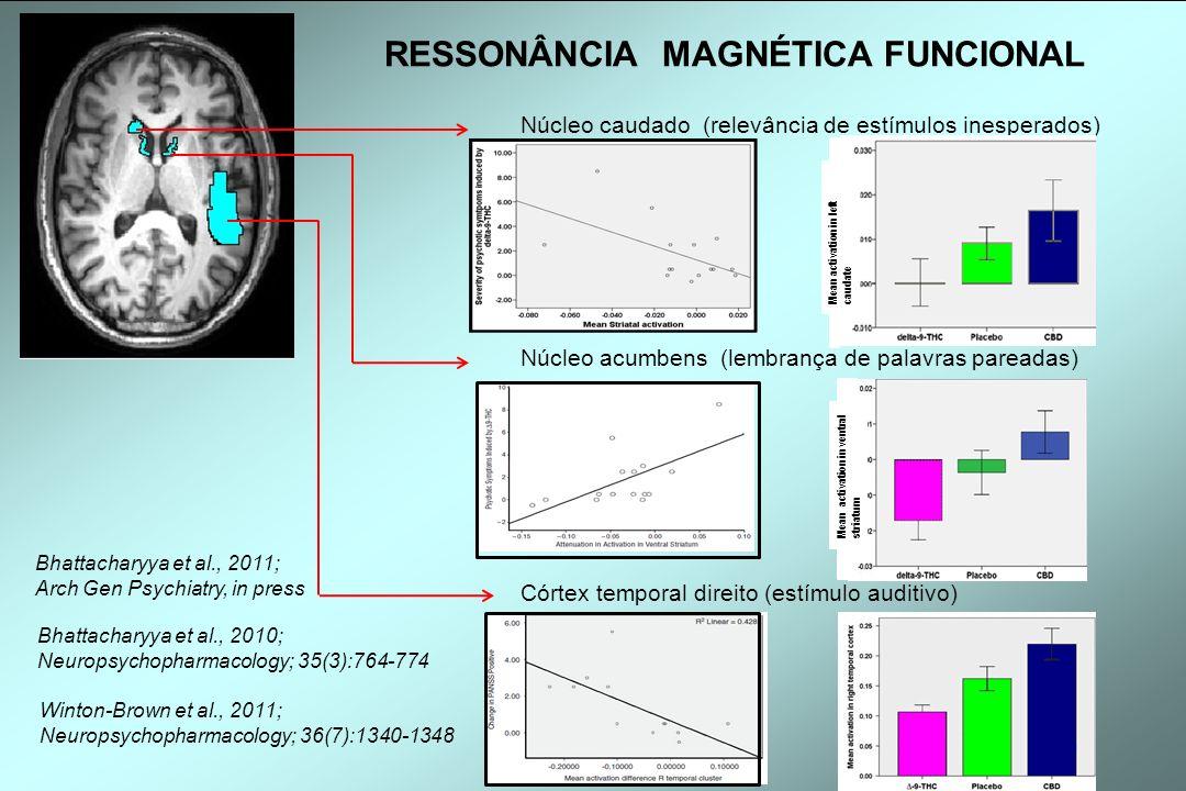 Núcleo caudado (relevância de estímulos inesperados) Núcleo acumbens (lembrança de palavras pareadas) Córtex temporal direito (estímulo auditivo) Mean