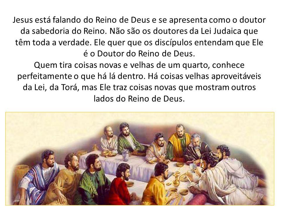 Jesus está falando do Reino de Deus e se apresenta como o doutor da sabedoria do Reino. Não são os doutores da Lei Judaica que têm toda a verdade. Ele