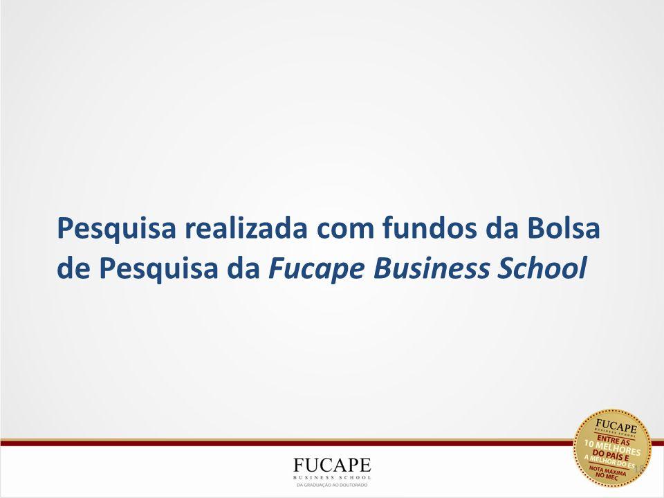 Pesquisa realizada com fundos da Bolsa de Pesquisa da Fucape Business School 18