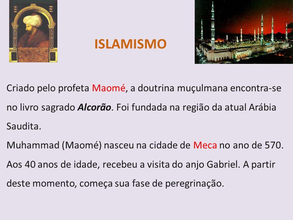ISLAMISMO Criado pelo profeta Maomé, a doutrina muçulmana encontra-se no livro sagrado Alcorão. Foi fundada na região da atual Arábia Saudita. Muhamma