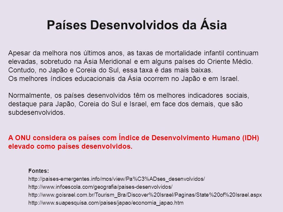 Países Desenvolvidos da Ásia Fontes: http://paises-emergentes.info/mos/view/Pa%C3%ADses_desenvolvidos/ http://www.infoescola.com/geografia/paises-dese