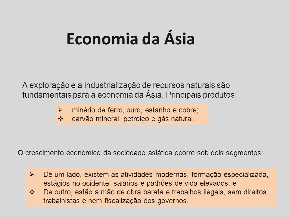Economia da Ásia A exploração e a industrialização de recursos naturais são fundamentais para a economia da Ásia. Principais produtos: minério de ferr