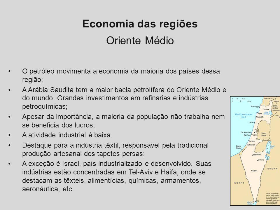 Economia das regiões Oriente Médio O petróleo movimenta a economia da maioria dos países dessa região; A Arábia Saudita tem a maior bacia petrolífera