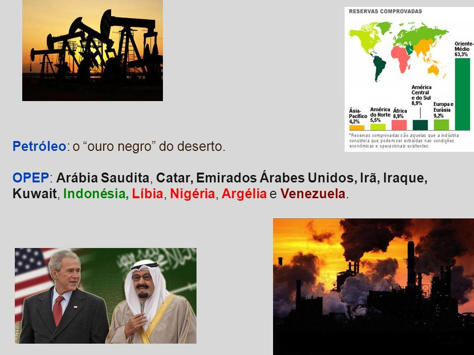 Petróleo: o ouro negro do deserto. OPEP: Arábia Saudita, Catar, Emirados Árabes Unidos, Irã, Iraque, Kuwait, Indonésia, Líbia, Nigéria, Argélia e Vene