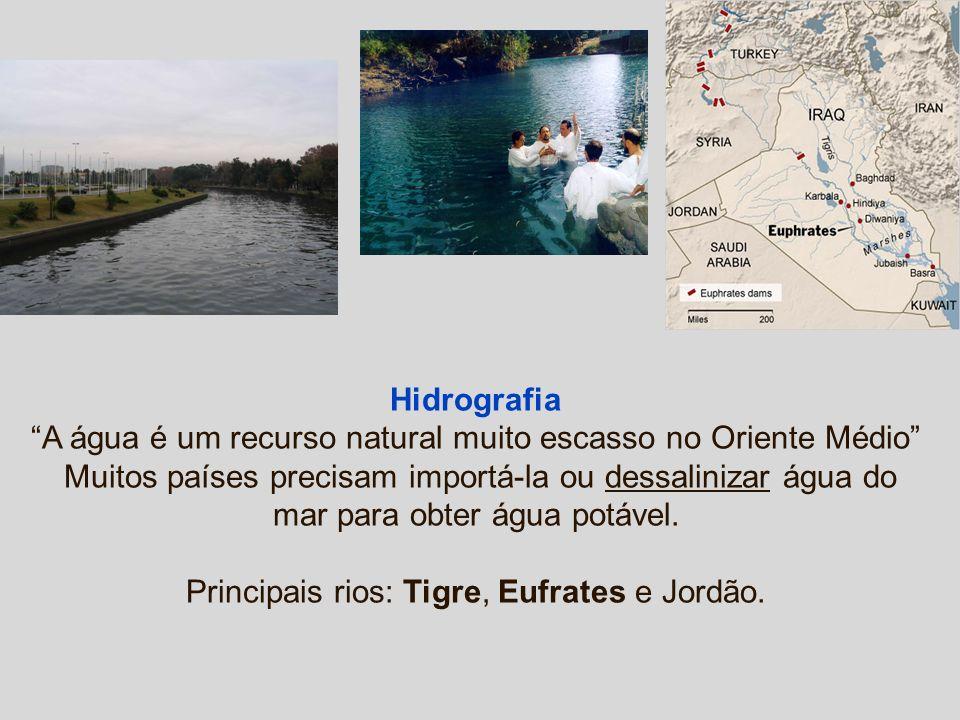 Hidrografia A água é um recurso natural muito escasso no Oriente Médio Muitos países precisam importá-la ou dessalinizar água do mar para obter água p