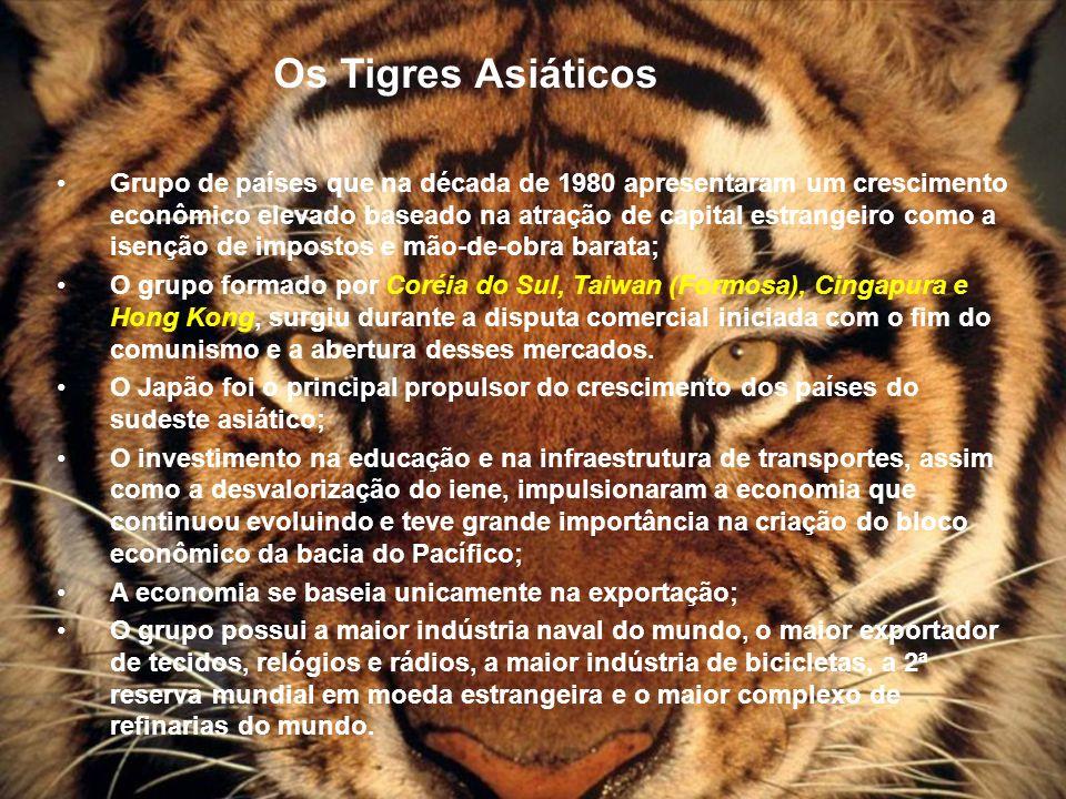 Os Tigres Asiáticos Grupo de países que na década de 1980 apresentaram um crescimento econômico elevado baseado na atração de capital estrangeiro como