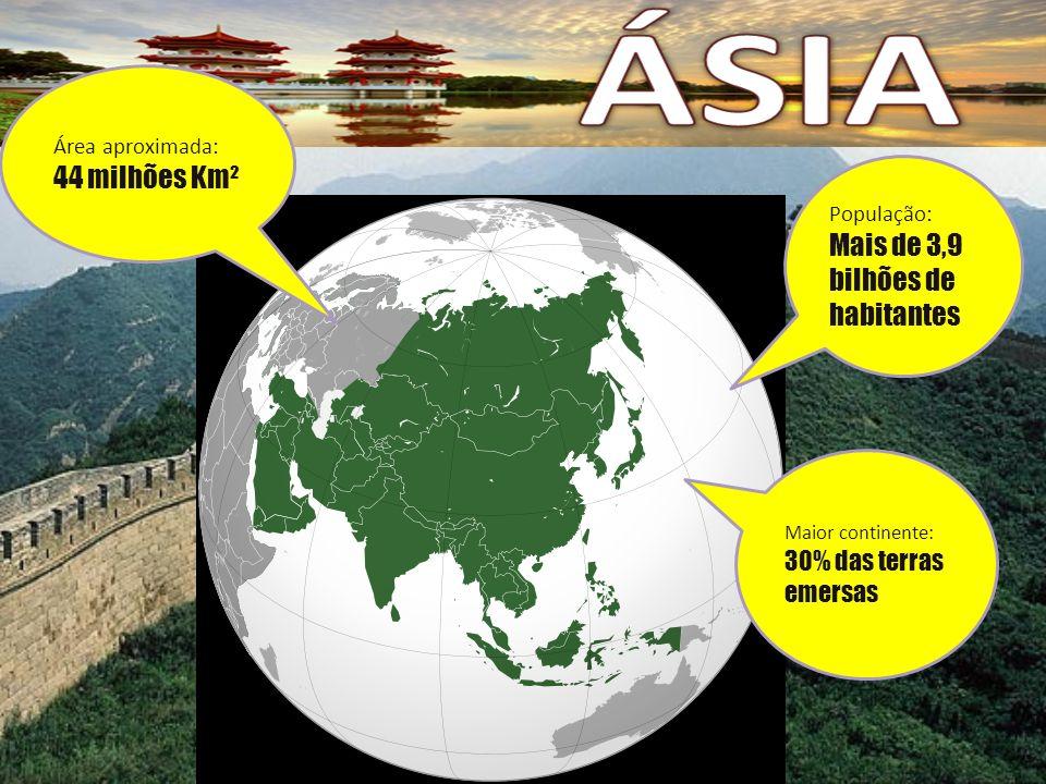 População: Mais de 3,9 bilhões de habitantes Maior continente: 30% das terras emersas Área aproximada: 44 milhões Km²