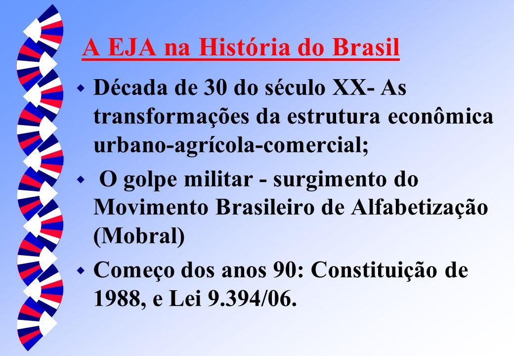 A EJA na História do Brasil w Década de 30 do século XX- As transformações da estrutura econômica urbano-agrícola-comercial; w O golpe militar - surgimento do Movimento Brasileiro de Alfabetização (Mobral) w Começo dos anos 90: Constituição de 1988, e Lei 9.394/06.