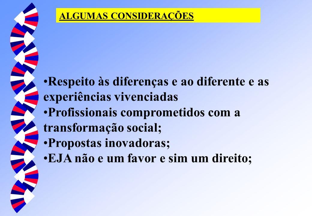 ALGUMAS CONSIDERAÇÕES Respeito às diferenças e ao diferente e as experiências vivenciadas Profissionais comprometidos com a transformação social; Prop