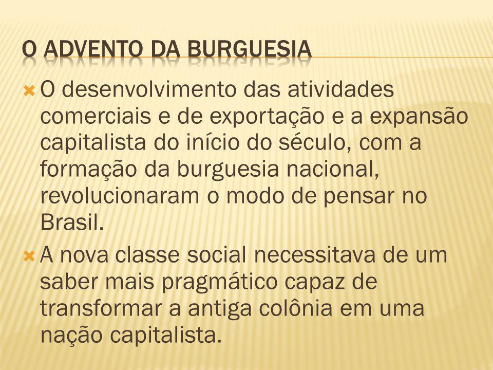 O desenvolvimento das atividades comerciais e de exportação e a expansão capitalista do início do século, com a formação da burguesia nacional, revolucionaram o modo de pensar no Brasil.