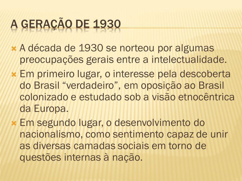 A década de 1930 se norteou por algumas preocupações gerais entre a intelectualidade. Em primeiro lugar, o interesse pela descoberta do Brasil verdade