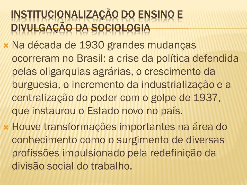 Na década de 1930 grandes mudanças ocorreram no Brasil: a crise da política defendida pelas oligarquias agrárias, o crescimento da burguesia, o increm