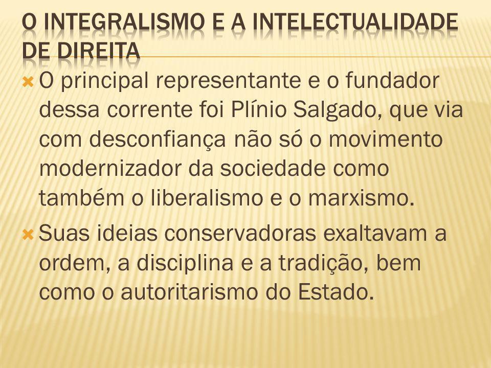 O principal representante e o fundador dessa corrente foi Plínio Salgado, que via com desconfiança não só o movimento modernizador da sociedade como também o liberalismo e o marxismo.