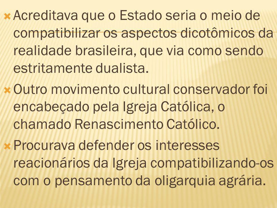 Acreditava que o Estado seria o meio de compatibilizar os aspectos dicotômicos da realidade brasileira, que via como sendo estritamente dualista. Outr