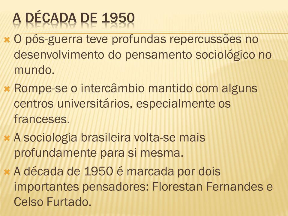 O pós-guerra teve profundas repercussões no desenvolvimento do pensamento sociológico no mundo. Rompe-se o intercâmbio mantido com alguns centros univ