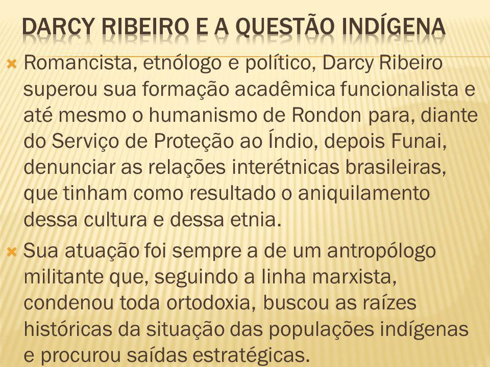 Romancista, etnólogo e político, Darcy Ribeiro superou sua formação acadêmica funcionalista e até mesmo o humanismo de Rondon para, diante do Serviço de Proteção ao Índio, depois Funai, denunciar as relações interétnicas brasileiras, que tinham como resultado o aniquilamento dessa cultura e dessa etnia.