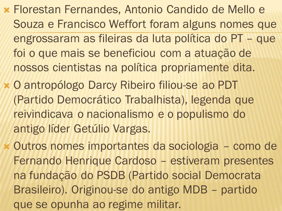 Florestan Fernandes, Antonio Candido de Mello e Souza e Francisco Weffort foram alguns nomes que engrossaram as fileiras da luta política do PT – que