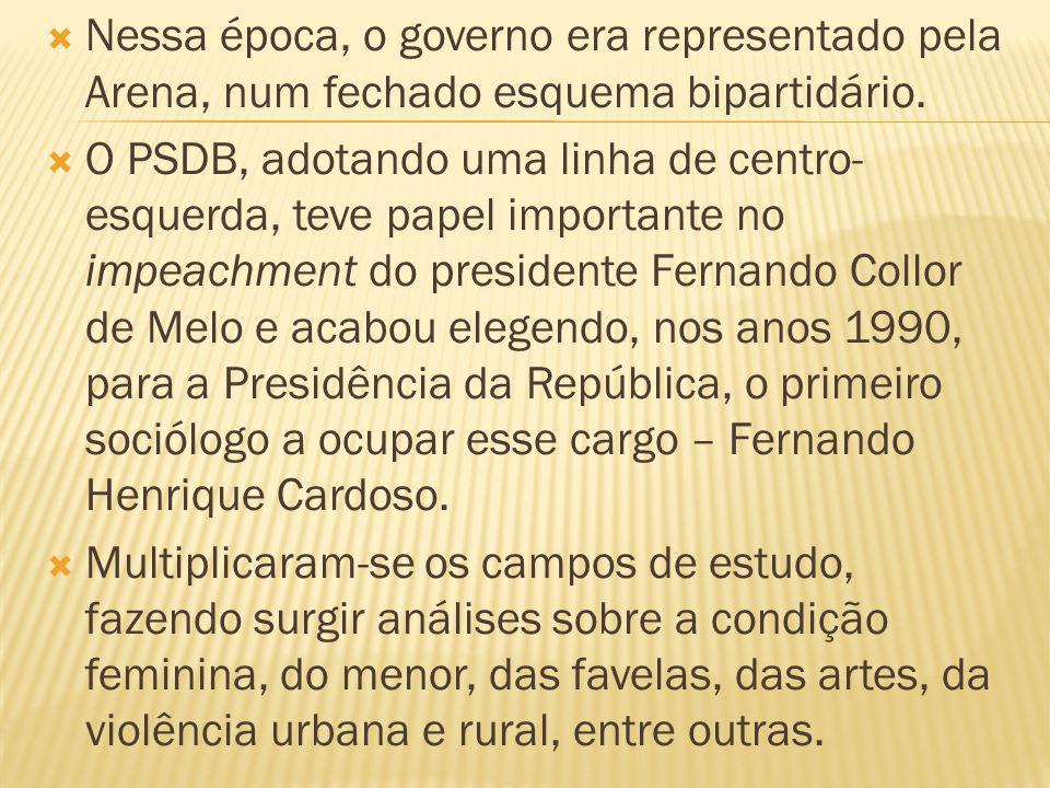 Nessa época, o governo era representado pela Arena, num fechado esquema bipartidário. O PSDB, adotando uma linha de centro- esquerda, teve papel impor