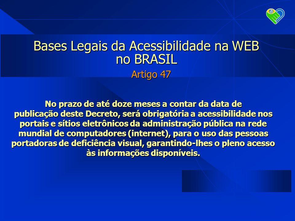 Bases Legais da Acessibilidade na WEB no BRASIL Artigo 47 No prazo de até doze meses a contar da data de publicação deste Decreto, será obrigatória a