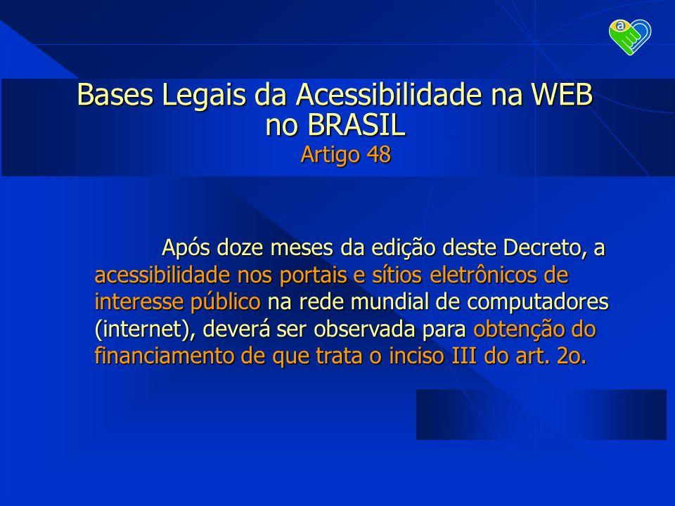 Bases Legais da Acessibilidade na WEB no BRASIL Artigo 48 Após doze meses da edição deste Decreto, a acessibilidade nos portais e sítios eletrônicos d