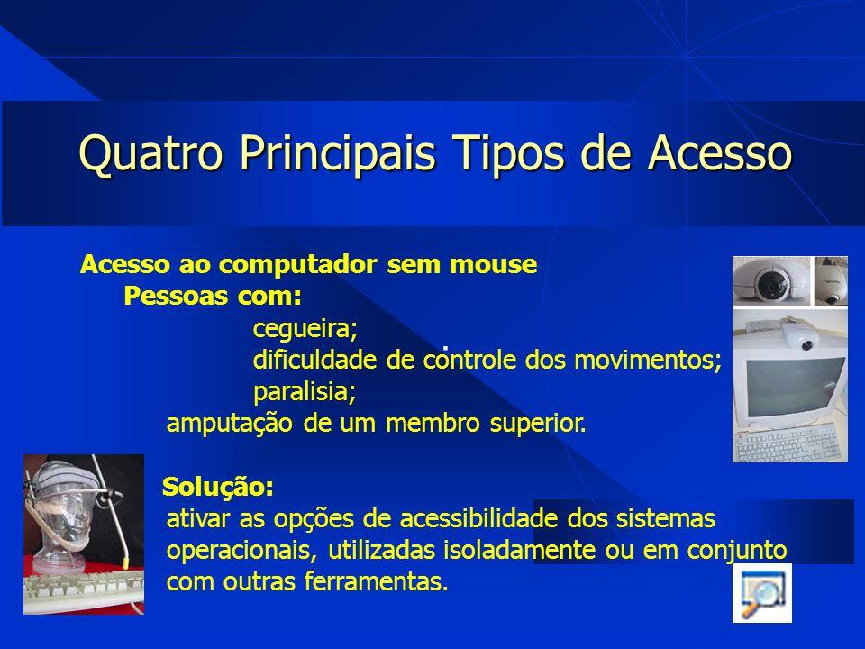 . Quatro Principais Tipos de Acesso Acesso ao computador sem mouse Pessoas com: cegueira; dificuldade de controle dos movimentos; paralisia; amputação