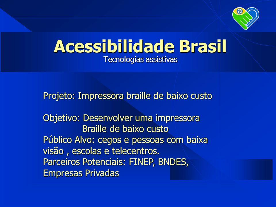 Projeto: Impressora braille de baixo custo Objetivo: Desenvolver uma impressora Braille de baixo custo Público Alvo: cegos e pessoas com baixa visão,