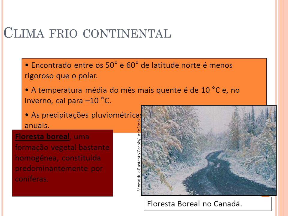 C LIMA FRIO CONTINENTAL Encontrado entre os 50° e 60° de latitude norte é menos rigoroso que o polar. A temperatura média do mês mais quente é de 10 °
