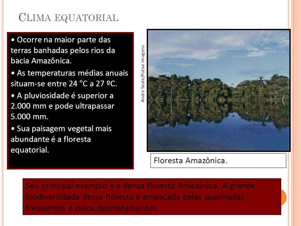 C LIMA EQUATORIAL Ocorre na maior parte das terras banhadas pelos rios da bacia Amazônica. As temperaturas médias anuais situam-se entre 24 °C a 27 ºC