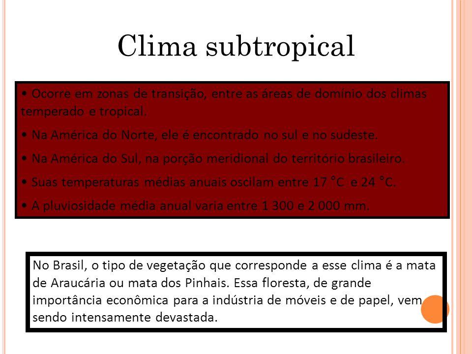 Clima subtropical Ocorre em zonas de transição, entre as áreas de domínio dos climas temperado e tropical. Na América do Norte, ele é encontrado no su