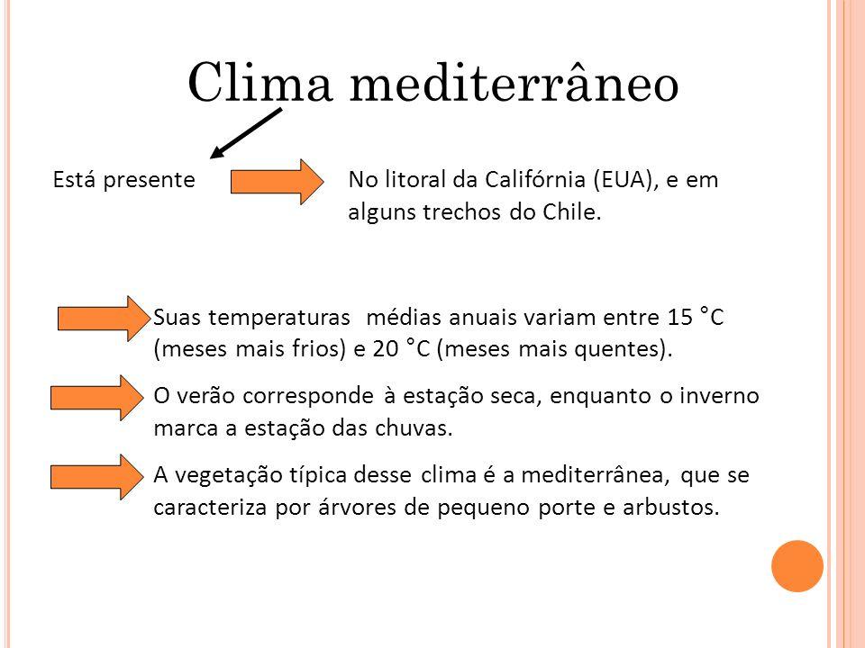 Clima mediterrâneo Suas temperaturas médias anuais variam entre 15 °C (meses mais frios) e 20 °C (meses mais quentes). O verão corresponde à estação s