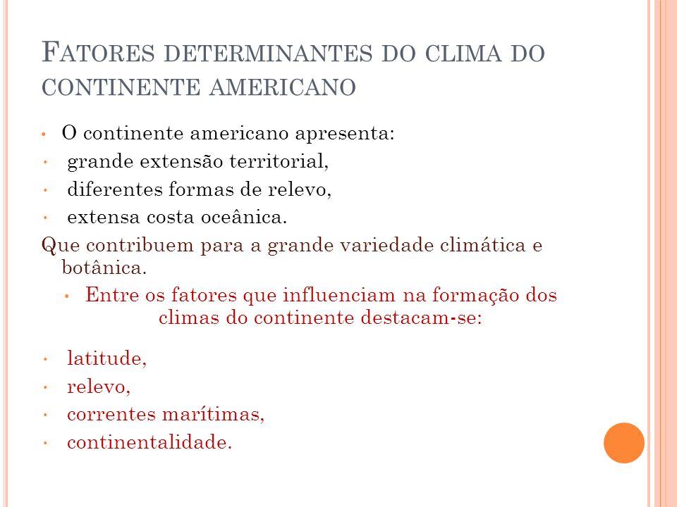 F ATORES DETERMINANTES DO CLIMA DO CONTINENTE AMERICANO O continente americano apresenta: grande extensão territorial, diferentes formas de relevo, ex
