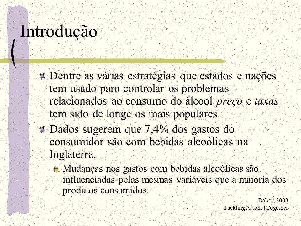 Preço de bebidas alcoólicas e problemas relacionados ao uso de álcool Além do mais, o aumento das taxas sobre bebidas alcoólicas diminuiu a taxa de acidentes de trânsito fatais.