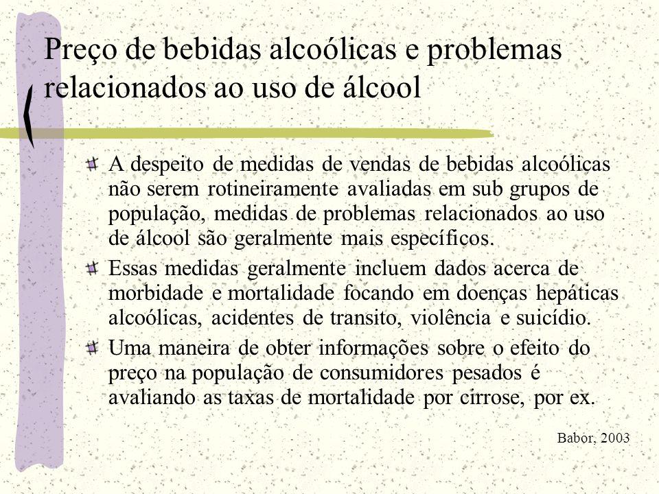 Preço de bebidas alcoólicas e problemas relacionados ao uso de álcool A despeito de medidas de vendas de bebidas alcoólicas não serem rotineiramente a