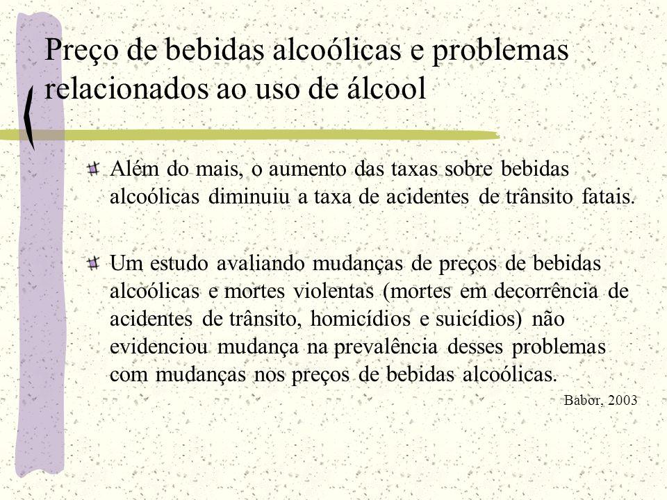 Preço de bebidas alcoólicas e problemas relacionados ao uso de álcool Além do mais, o aumento das taxas sobre bebidas alcoólicas diminuiu a taxa de ac