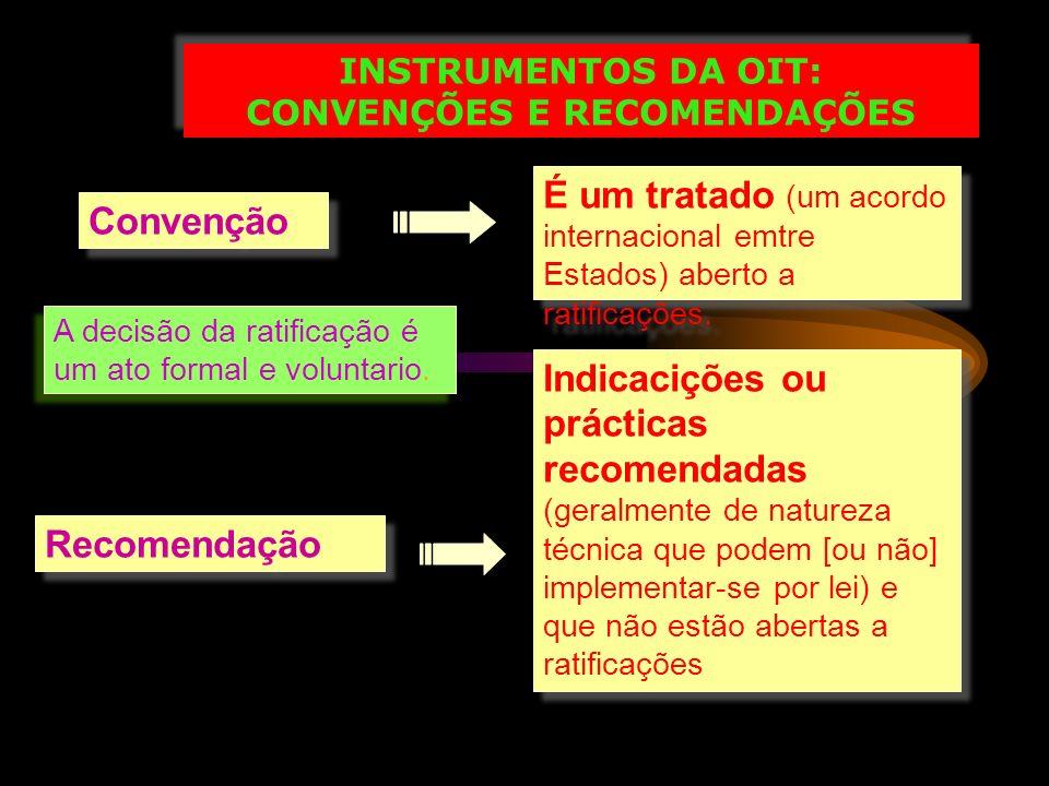 INSTRUMENTOS DA OIT: CONVENÇÕES E RECOMENDAÇÕES INSTRUMENTOS DA OIT: CONVENÇÕES E RECOMENDAÇÕES Convenção É um tratado (um acordo internacional emtre