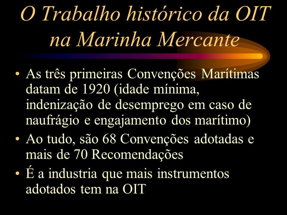 O Trabalho histórico da OIT na Marinha Mercante As três primeiras Convenções Marítimas datam de 1920 (idade mínima, indenização de desemprego em caso